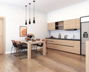 I型の壁付けキッチンの例の写真。シンプルで使いやすい。