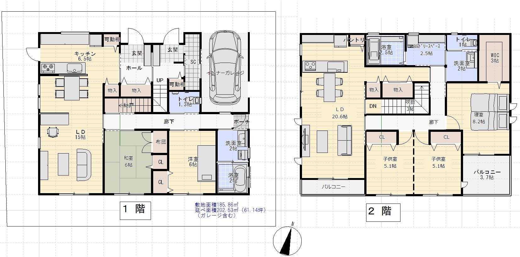 2世帯住宅間取り例(2階建て)②