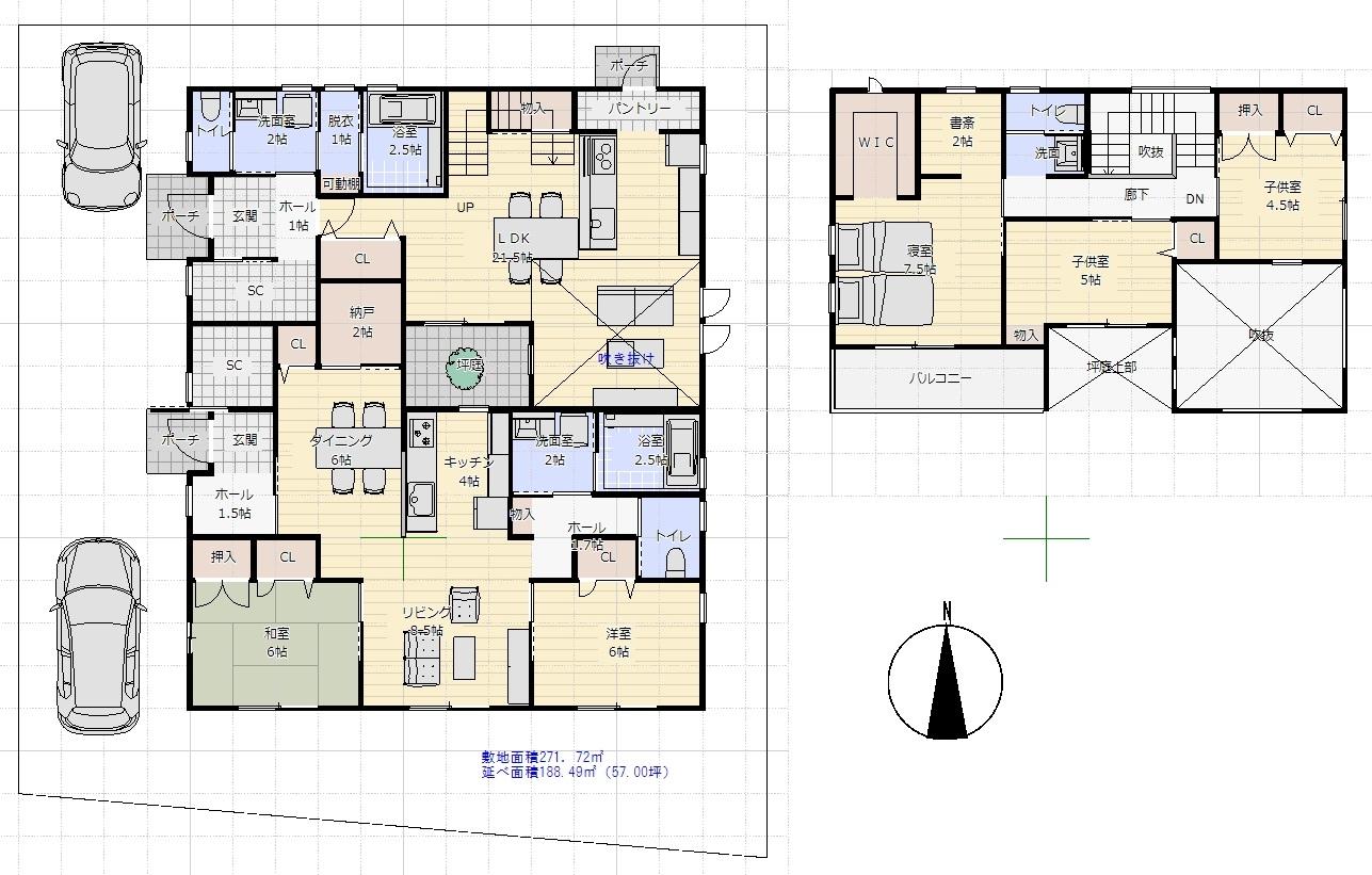 2世帯住宅間取り例(2階建て)①