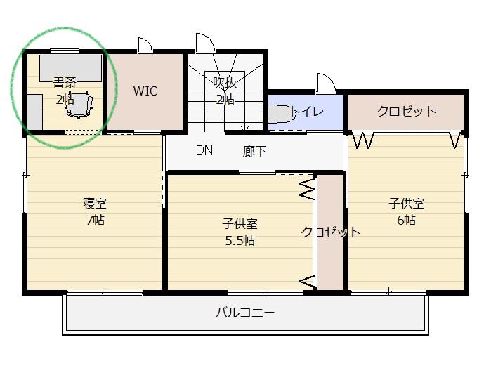 寝室に併設したワークスペース